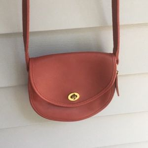 Red leather Vintage Coach crossbody small